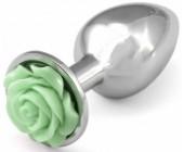 Kovový anální kolík se světle zelenou kytičkou