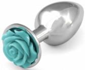 Kovový anální kolík se světle modrou kytičkou