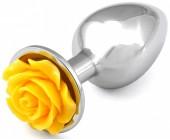 Kovový anální kolík se žlutou kytičkou