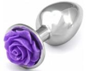 Kovový anální kolík s fialovou kytičkou
