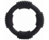 Černý silikonový erekční kroužek Hercules