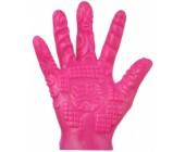Růžová masturbační rukavice se stimulačními výstupky 1 ks