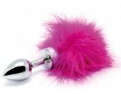 Nerezový růžový anální kolík s ocáskem z peří s ocáskem z peří