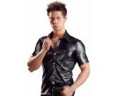 Lesklá pánská košile s límečkem v imitaci kůže Svenjoyment