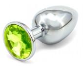 Anální kolík se světle zeleným šperkem průměr 3,4cm