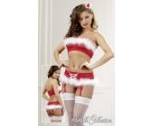 Set vánočního prádla Cottelli podprsenka a kalhotky červenobílý