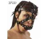 Kožený postroj na hlavu s roubíkem v puse černý