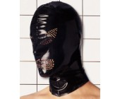 Latexová maska s dírkami pro oči a ústa leskle černá