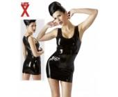 Latexové minišaty luxusní leskle černé