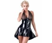 Sexy lakované šaty s průhledným topem Black Level černá
