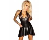 Lesklé erotické šaty se skládanou sukní černá