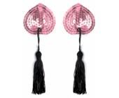 Samolepicí srdíčka na bradavky se střapci - růžová 1 pár