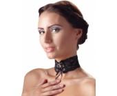 Široký černý krajkový obojek Cottelli Collection