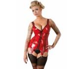 Erotický červený latexový top s podvazky