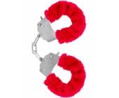 Červená kovová pouta na ruce s plyšovým kožíškem