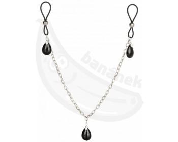 Fotka 1 - Šperk na bradavky ONYX s řetízkem