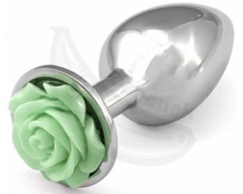 Fotka 1 - Kovový anální kolík se světle zelenou kytičkou