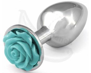 Fotka 1 - Kovový anální kolík se světle modrou kytičkou