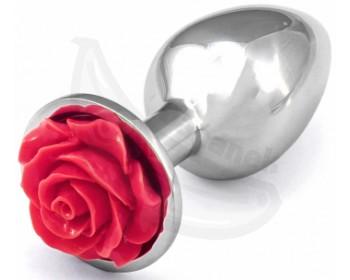 Fotka 1 - Kovový anální kolík s tmavě růžovou růžičkou