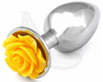 Fotka 1 - Kovový anální kolík se žlutou kytičkou