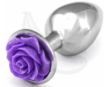 Fotka 1 - Kovový anální kolík s fialovou kytičkou