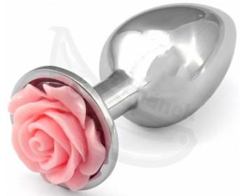 Fotka 1 - Kovový anální kolík s růžovou kytičkou