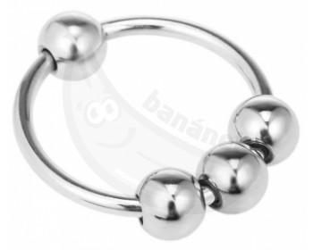 Fotka 1 - Stimulační kovový kroužek na penis s pohyblivými kuličkami