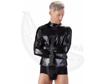 Fotka 1 - Černá svěrací kazajka ve wetlook stylu