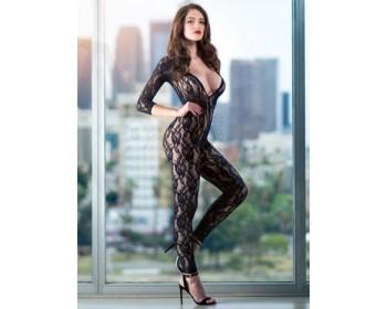 Fotka 1 - Luxusní černý krajkový catsuit SCANDAL