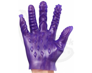 Fotka 1 - Fialová masturbační rukavice se stimulačními výstupky