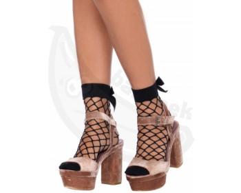 Fotka 1 - Černé síťované ponožky s mašličkou