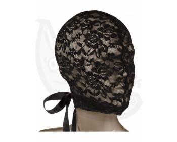 Fotka 1 - Krajková maska na hlavu s korzetovým šněrováním SCANDAL