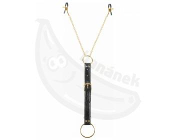 Fotka 1 - Svorky na bradavky s kroužkem na penis Fetish Fantasy Gold