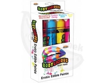 Fotka 1 - Slíbatelný bodypainting Bodylicious Body Pens 4 příchutě (4 x 55 g)