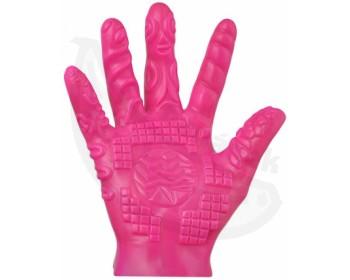 Fotka 1 - Růžová masturbační rukavice se stimulačními výstupky 1 ks