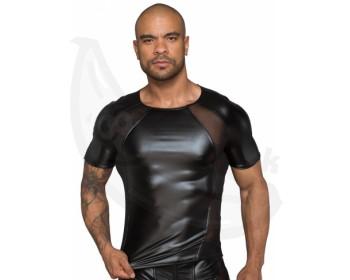 Fotka 1 - Lesklé pánské triko s průsvitnými vsadkami NOIR