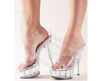 Fotka 1 - Průhledné sexy pantoflíčky Cottelli High Heels