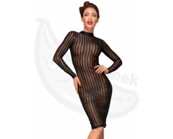 Fotka 1 - Průsvitné proužkovné šaty s límečkem a dlouhými rukávy NOIR