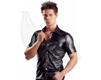 Fotka 1 - Lesklá pánská košile s límečkem v imitaci kůže Svenjoyment