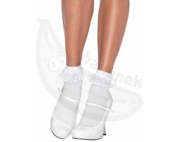 Fotka 1 - Bílé kotníkové ponožky s volánky z krajky