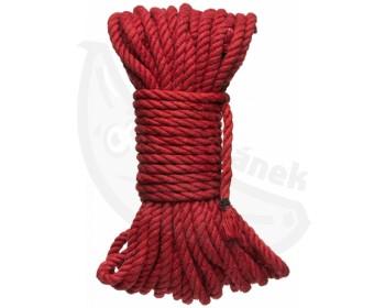Fotka 1 - Červené konopné lano na bondage Hogtied Bind & Tie 15 m