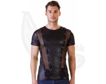 Fotka 1 - Pánské triko s průsvitnými vsadkami a kovovými kroužky NEK