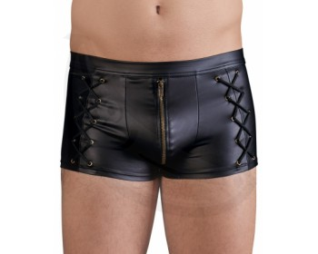 Fotka 1 - Wetlook boxerky se zipem a ozdobným šněrováním NEK