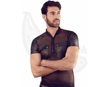 Fotka 1 - Wetlook pánské tričko s průsvitnou vsadkou, kapsami a zipem u krku NEK