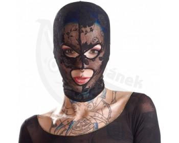 Fotka 1 - Krajková maska na hlavu s otvory na oči a ústa Bad Kitty
