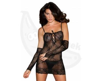 Fotka 1 - Erotické minišaty z průhledné krajky černé