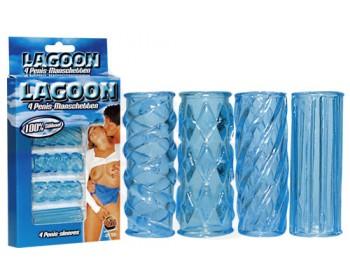 Fotka 1 - Lagoon - sada návleků na penis i vibrátor ledově modrá