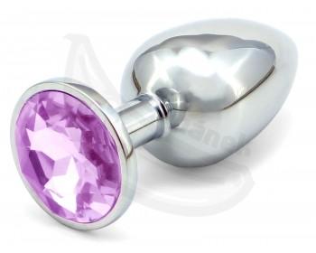 Fotka 1 - Anální kolík se světle fialovým šperkem průměr 3,4cm