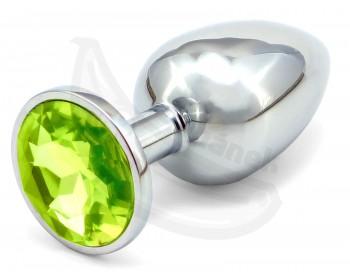 Fotka 1 - Anální kolík se světle zeleným šperkem průměr 3,4cm