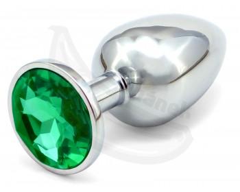 Fotka 1 - Anální kolík s tmavě zeleným šperkem průměr 3,4cm